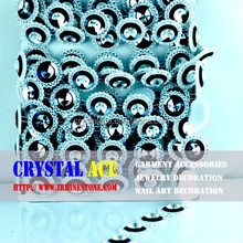 Fancy rivoli shape glass stones plastic cup holding rhinestone trimming from CRYSTAL ACE