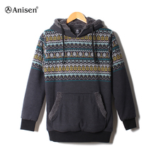Mens custom print street style pullover men's winter fleece hoodie