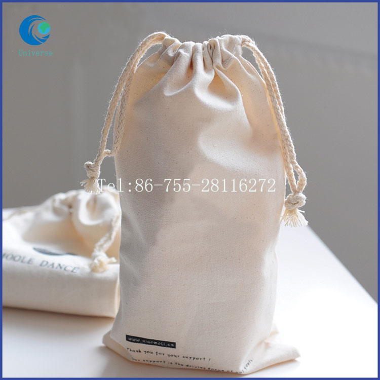 Top Closure Cotton Shoes Bag Natural Nice Look With Personal Logo printed Wholesale Bags