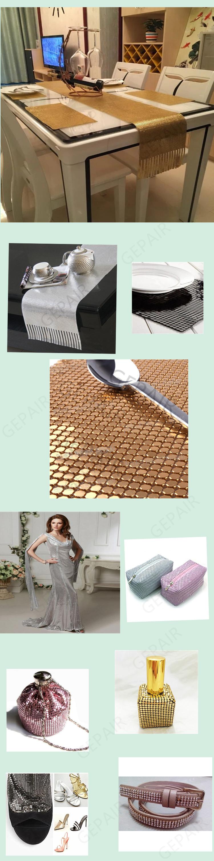 Belle décoration de mariage drapeau de table tissu tissu en paillettes métalliques