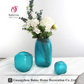 Factory sale flower vase glass decorative blue frosted thick square glass vase made in china
