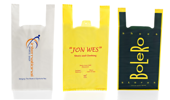 OEM Black Print Tote Retail Story Carry Out Bag Plastic Bag