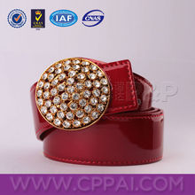 Modern fashion of red leather crystal belt for delicate women dress