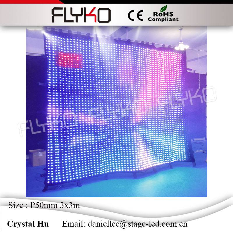 Youtube video show flexible led mesh video curtain 3*3m P50mm