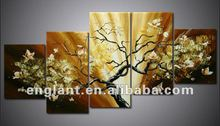 Contemporary abstract group oil painting blossom tree on canvas