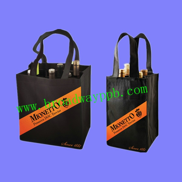 durable logo printed secret compartment non woven bag for wine bottles