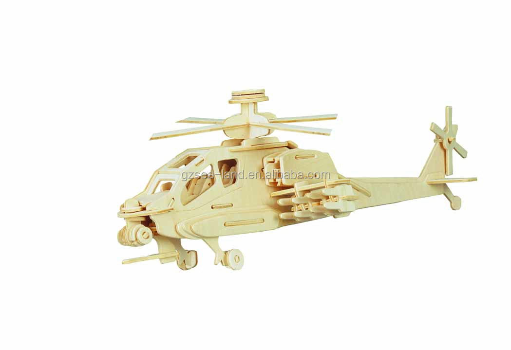Apache Plane 3D Puzzle Wood Craft Construction Kit