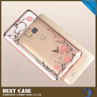 2016 Low MOQ Soft TPU Plated Clear Phone Back Cover case Secret Garden Flower Bling smart cover case for huawei ascend mate 7