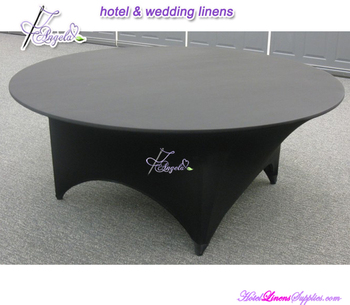 5' (dia-150cm) black spandex round table covers, lycra round table covers, fitted stretch round table covers