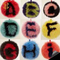 2016 popular alphabet fur ball keychains letter fur pendant alphabet fox fur pompom bag charm