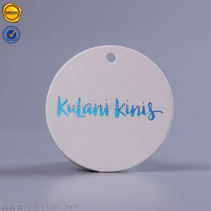 Sinicline thick round shape custom design gold foil hang tag for swimwear suit