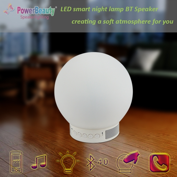 2015 newest professional wireless mini portable smart led light lamp bluetooth speaker with APP control fm radio timing clock