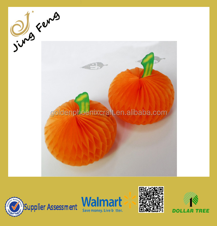 Wholesale Pumpkin Paper Honeycomb Table Topper Centerpiece Decoration For Halloween Party/Tissue Paper Decoration