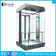 Braun Elevator 630KG-1000KG MR Square Sightseeing Panoramic Glass Elevator Lift