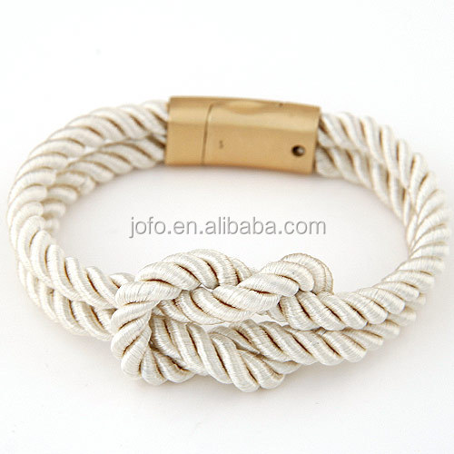 Magnet Buckle Double Layer Leather Rope Chain Bracelets Stainless Steel Magnetic Clasp Cotton Rope Wrap Bracelet