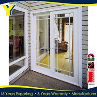 Automatic aluminum and upvc glass sliding door main door frame designs AS2047 AS/NZS2208 certificate