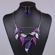 Fashion jewelry sets 4 color oil drop short style leaf with crystal necklace earrings set