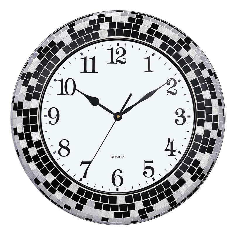 shenzhen handmade crackle glass mirror mosaic decorative art antique metal wall clock