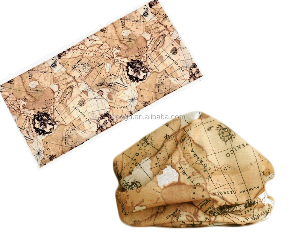 Fashion women polyester map print <strong>scarf</strong>