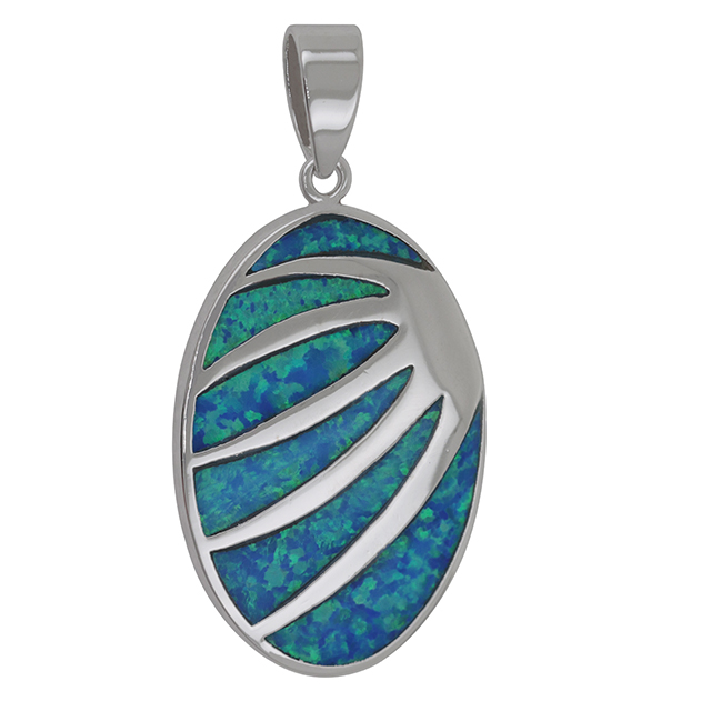 Teardrop Pear shape Pendant Lab Created Blue Opal 925 Sterling <strong>Silver</strong>