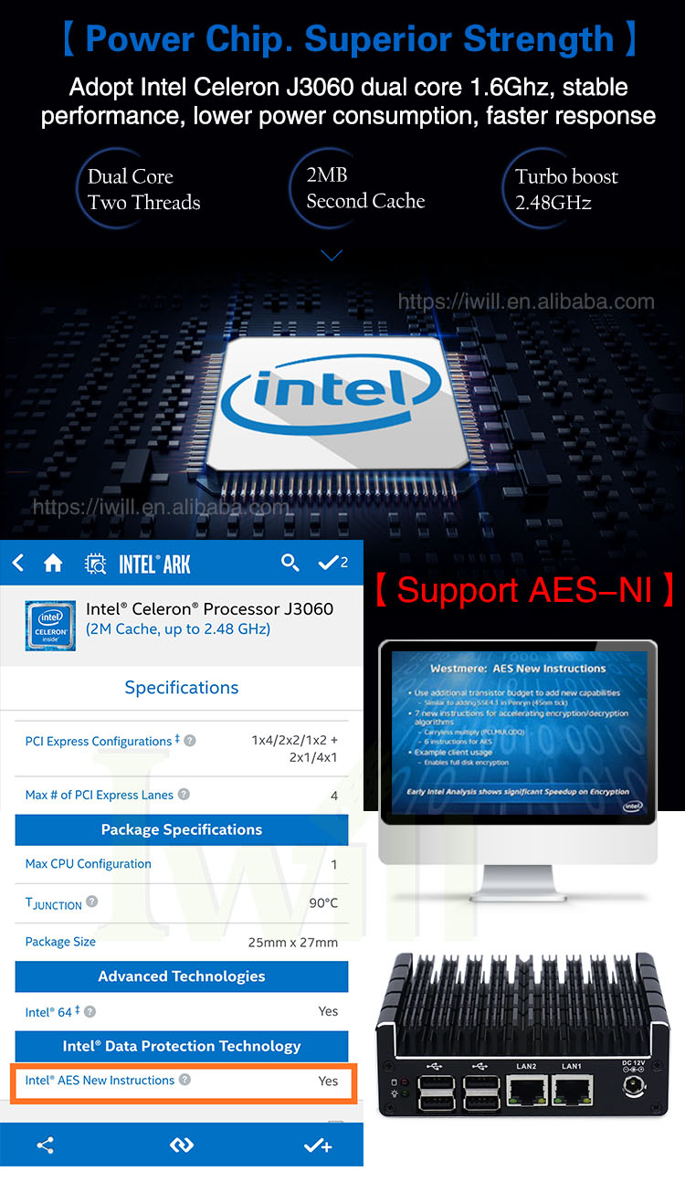 Intel celeron J3060 Nuc Fanless Mini PC with 2 intel Gbe Lan and 6 USB for home and office