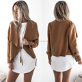 Latest fashion design khaki short line casual lapel long sleeve women jackets casual