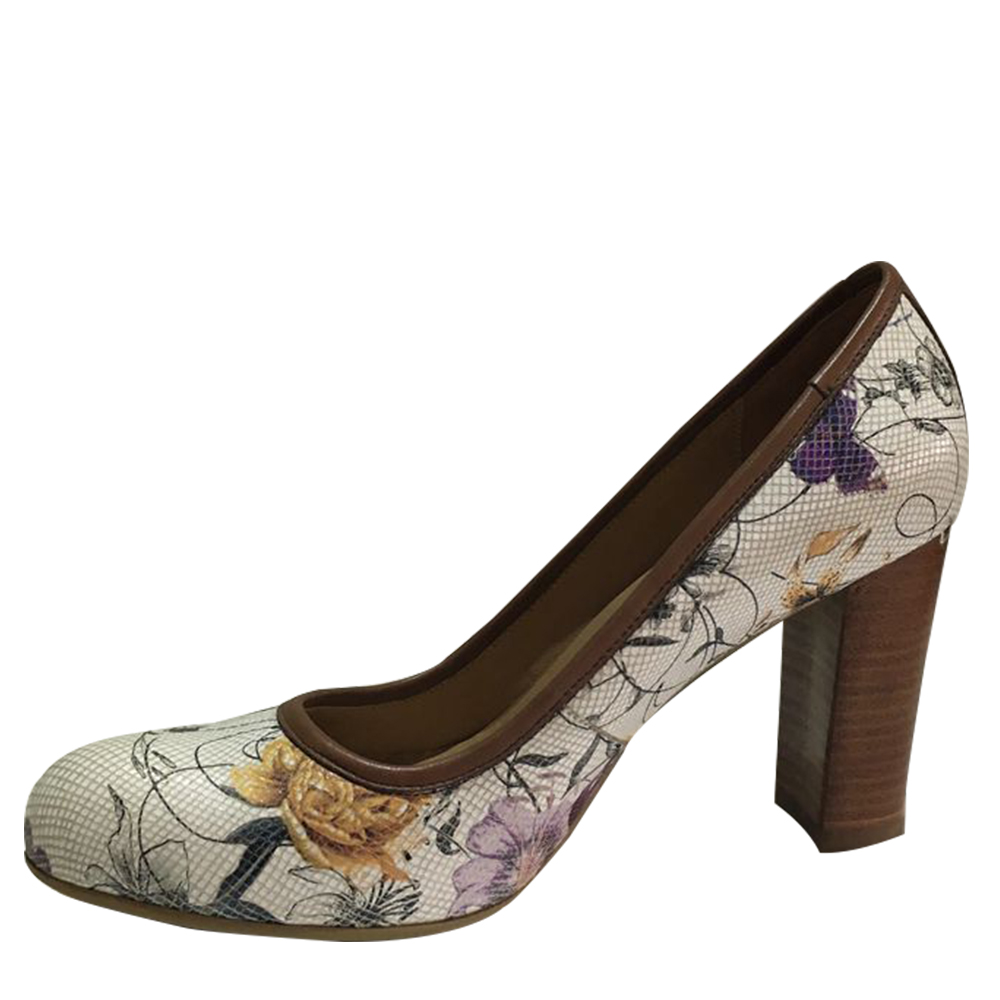 Wholesale women Round toe floral pattern upper high heels shoes