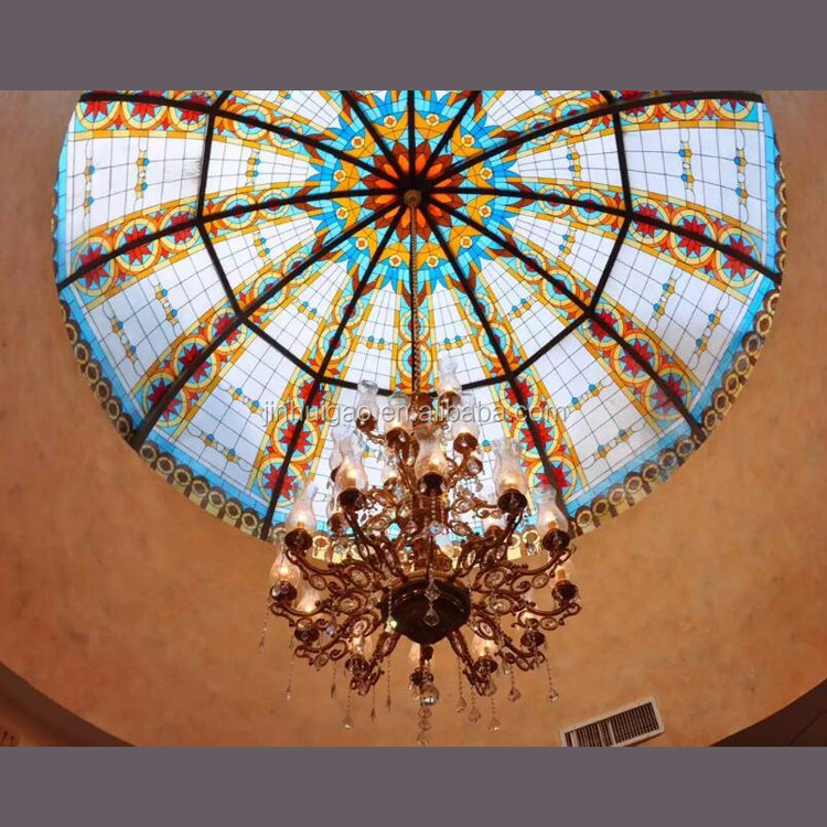 Interior decoration skylight stained glass ceiling dome with chandelier
