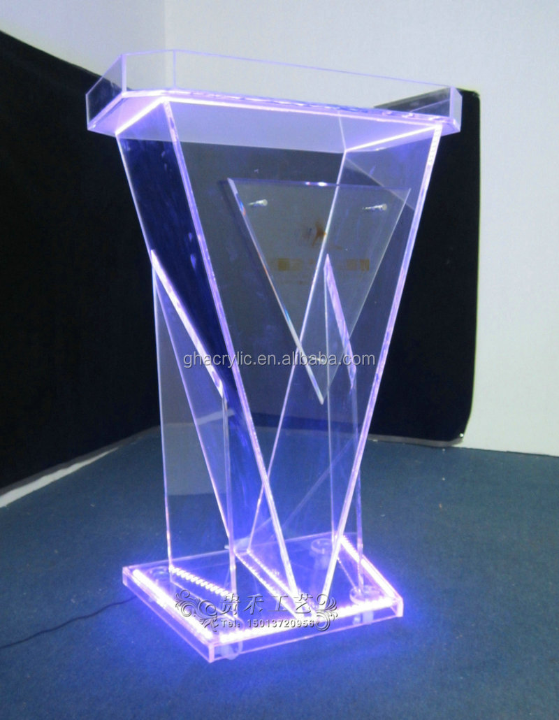diamond design transparent acrylic lectern podium/ stand pulpit with LED lights