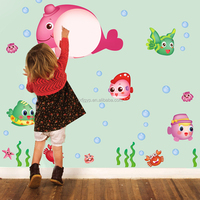 Hot sales removable fish whiteboard wall sticker for kids school room decoration