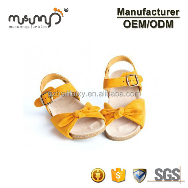 Custom Summer Beach Yellow Sandals Fashion Bow Kids Sandals Girls Leather