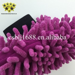 China popular factory direct double side microfiber chenille car cleaning gloves