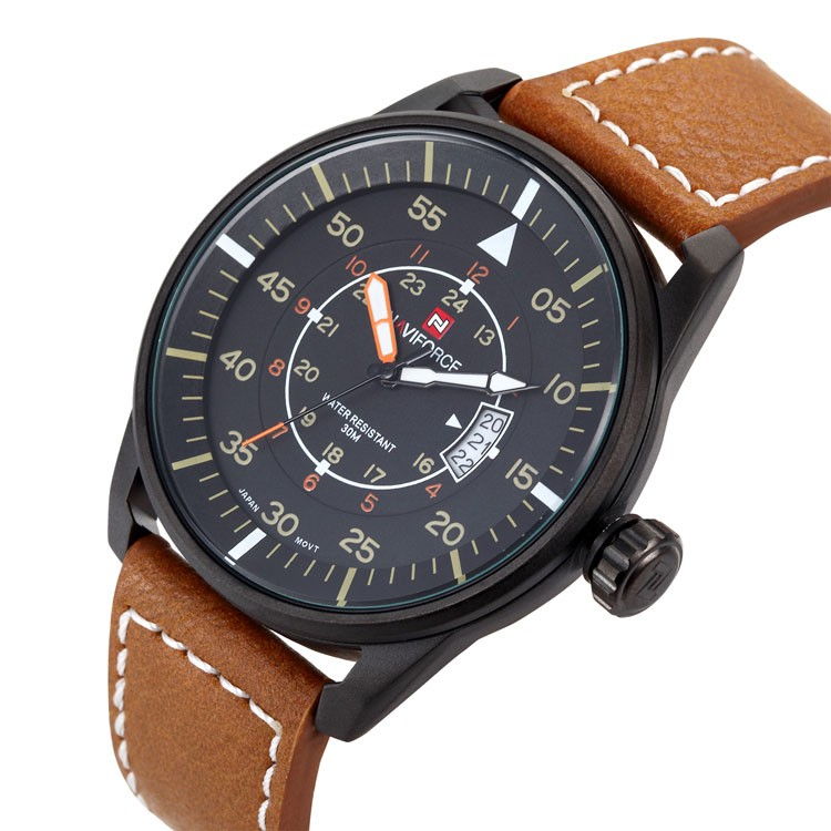 NF 9044 Top brand NAVIFORCE trendy leather strap watches hot sale army sport wrist watches date function