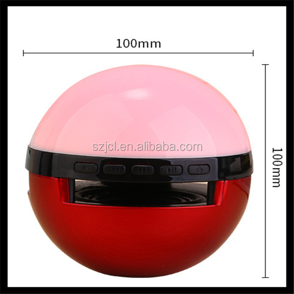 Creative Subwoofer Speaker Pokemon Bluetooth Speaker, Wireless Bluetooth Speaker Ball Shaped Supporting LED Lamp TF FM