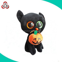 custom cheap cute Halloweens plush cats /funny inflatable Halloween black Cat With Pumpkin in mouth