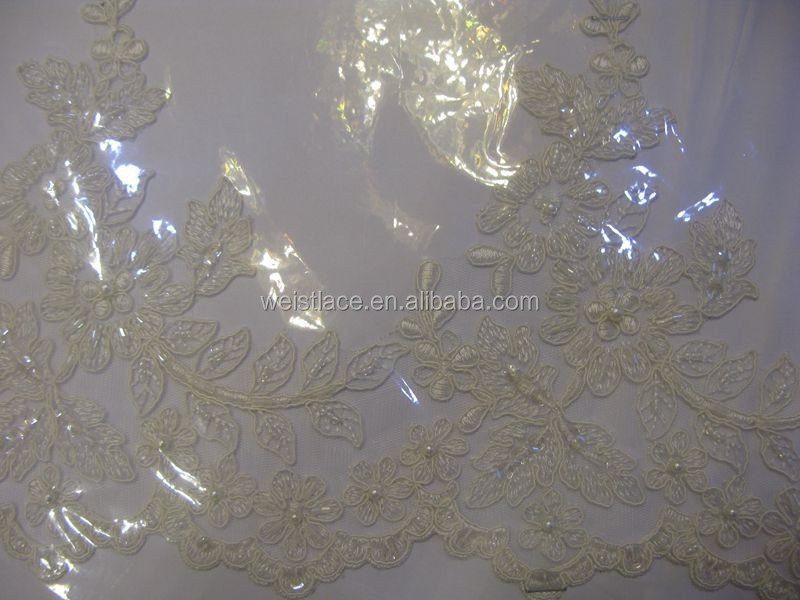 Fashionable design tirmming lace,border,kenar with embroidery beads trims