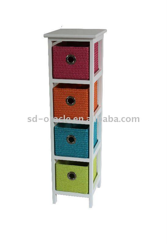 Gabinete de madera con cestas de mimbre muebles hogar rattan cajones gabinetes para la sala de - Muebles con cajones de mimbre ...