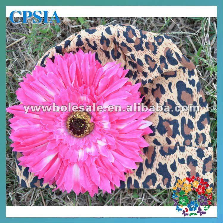 Best Selling Beanies In Winter Leopard Print Hats with Hot Pink Flower