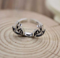 Latest design Open Dainty antler Ring in silver Christmas gift