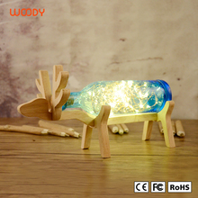 Woody christmas gift table reading lights wooden deer lighting cute animal lamps