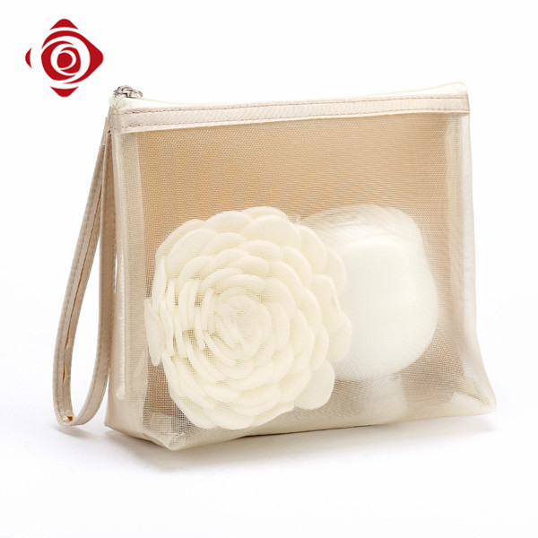 New design ladies travel cosmetic pouch satin mesh makeup bag