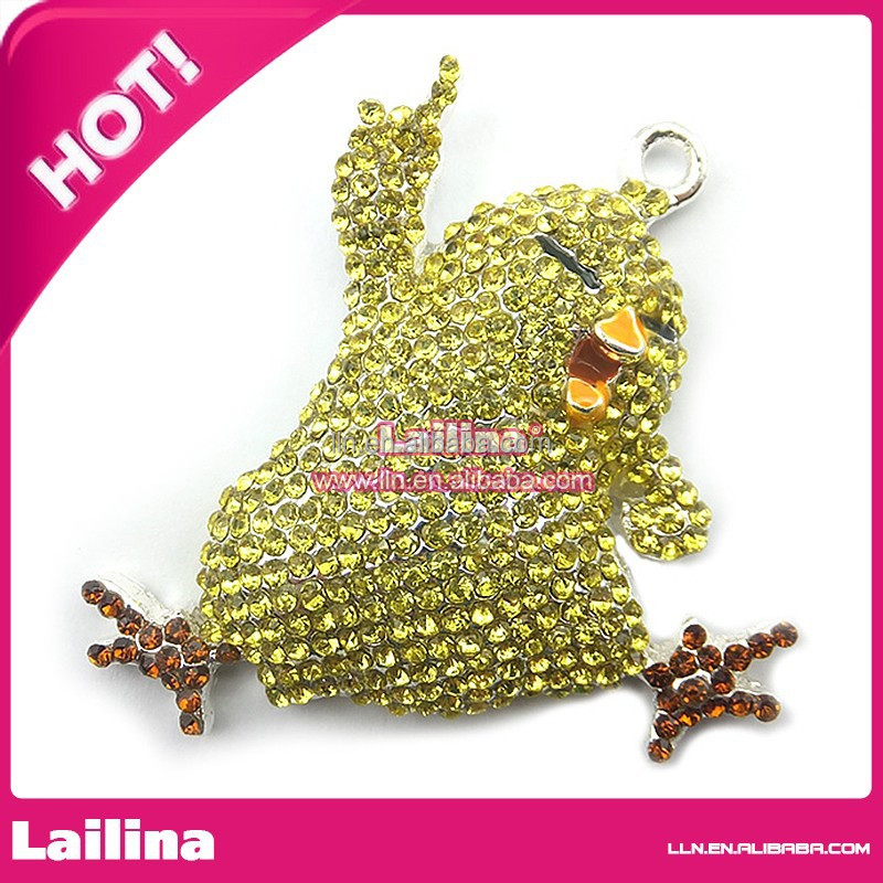 Best Sell Bulk Esater Chick Charms Pendant Necklace Crystal Rhinestone Pendant for Easter Gift