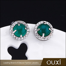 OUXI Latest design Top quality Green stone 925 silver 2016 latest korean fashion earrings for women Y20471