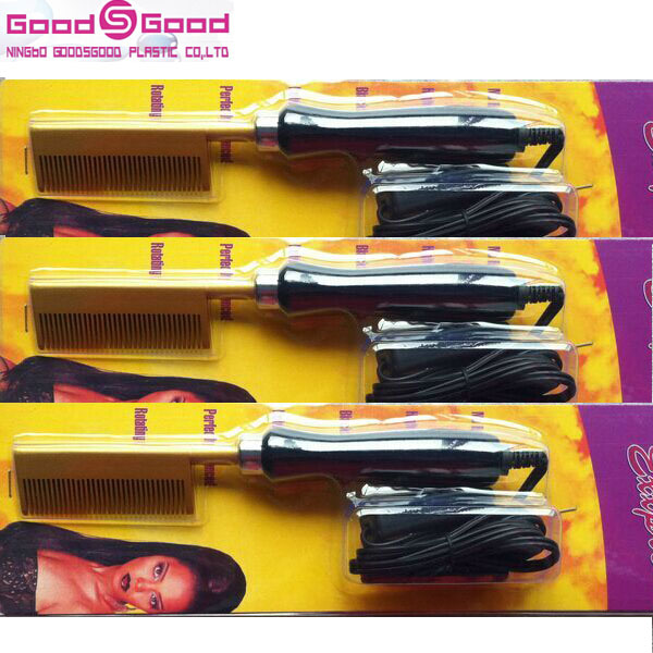 Golden Supreme Metallic copper material Electric Pressing Comb,Electric Hair Comb,Curved Electric Straightening Comb