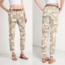 Custom Design Latest Women Floral Printed Casual Chinos Pants Twill Pants