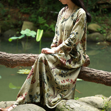 2017 Ladies Autumn Cheongsam Dress Chinese Style Straight Printed Maxi Dress
