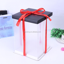 Elegant decoration packaging plastic tall cake box