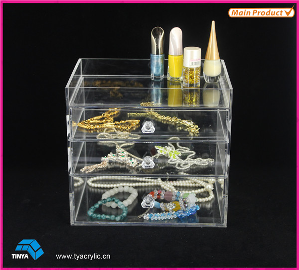 2016 Hot New Design Acrylic Makeup Kits, Table Counter Clear 3-Tiers Shelf Cosmetic Organizer