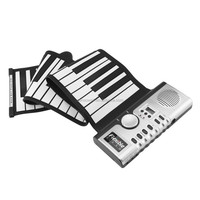 61 Keys 128 Portable Tones Roll Up Electronic Piano Keyboard Digital Piano Flexible Rechargeable Musical Instrument