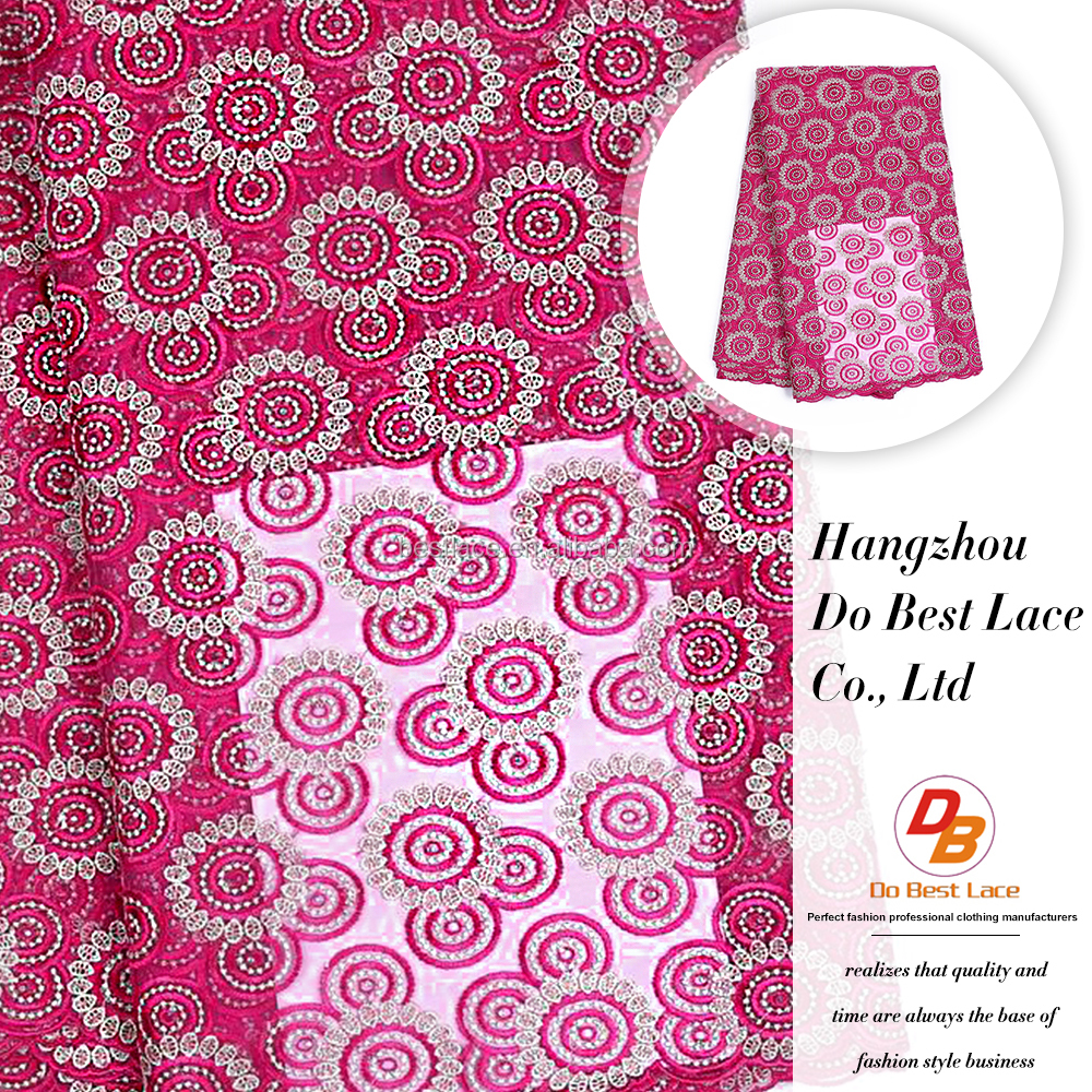 Murah Latest Fuchsia Pink Nigerian Lace Fabric With Rhinestones For African Market